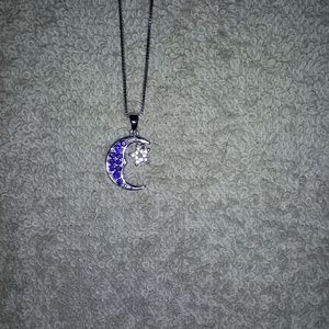 "Silver Moon and Star 18""  Necklace"